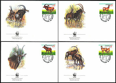 1990 Angola - Wwf - Antelope - 4 Covers - Fdc - Cover - J29