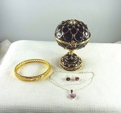 Enamel, Musical Egg Jewel Box & Assorted Jewellery x4