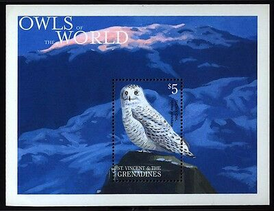 2001 St Vincent & Grenadines - Owls Of The World Souvenir Sheet - Muh - J12