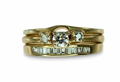 14k Yellow Gold 0.60ct Diamond Engagement/Wedding Baguette 3 Ring Bridal Set 414