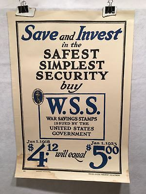 "WW1 ""Save and Invest"" WSS War Savings Stamps Home Front Poster (17"" X 24"") 1918"