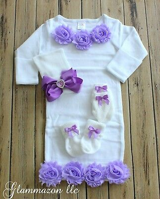 Newborn Baby Girl Comfy Gown Bowknot Hospital Cap Beanie Hat & Socks and Mittens