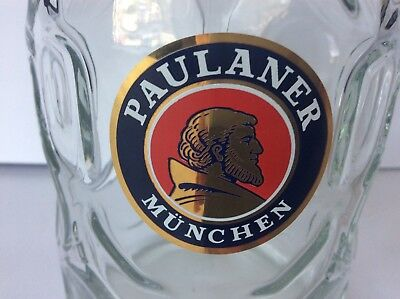 Paulaner Munchen 48 oz. 1 Liter German Beer Mug Stein Dimpled Glass Rastal