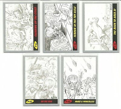 2017 Topps Mars Attacks The Revenge Pencil Silver Parallel Card Serial #ed / 10