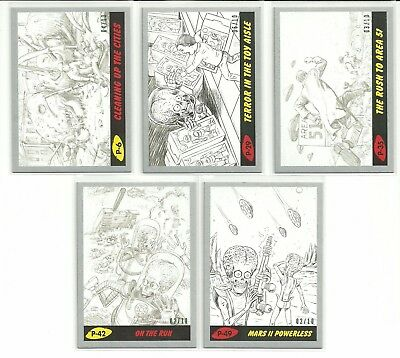 2017 Topps Mars Attacks The Revenge Pencil Bronze Parallel Card Serial #ed / 25