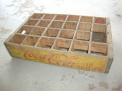 Vintage Wooden Yellow Coca-Cola Coke Soda Pop Bottle Crate Carrier Box