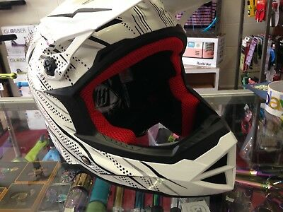 THH T-42 Full Face BMX or Downhill Helmets - BLACK WHITE ADULTS Medium