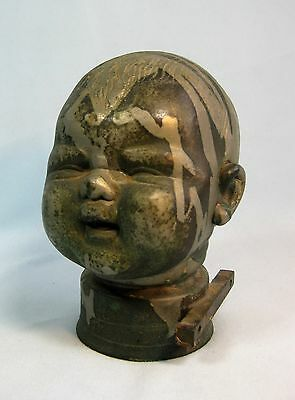 Vintage Industrial Copper Doll Head Mold Steampunk Great Patina!