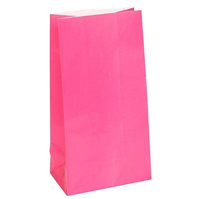 Pink Birthday Party Paper Favour Lolly Treat Gift Bags Sacks 12 Pack