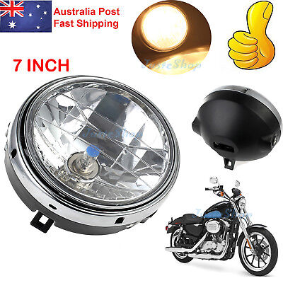 "12V 7"" Motorcycle Round Halogen H4 Bulb Headlight Side Mount Head Lamp New AU"