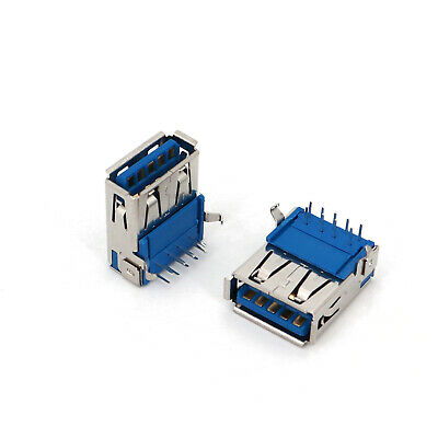 50PCS USB3.0 Type A Female Right Angle 9Pin DIP USB Socket Jack Solder Connector
