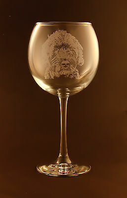 New! Etched Portuguese Water Dog on Large Elegant Wine Glasses