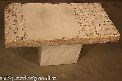 Old stone carved Chinese centre table white marble pedestal ancient poem carved