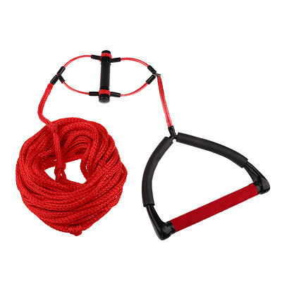 Double Handle 1 Section 23m/75' Waterski Wakeboard Rope with Rope Tidy Red
