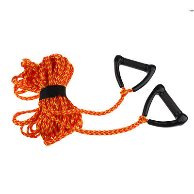 Double Handle 1 Section 75' Waterski Wakeboard Rope with Rope Tidy Orange