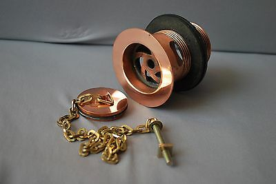 Copper Slotted Waste &  Plug 1 1/2 Inch & Brass Chain Reclaimed & Refurbished