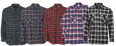 New Mens Warm Winter Lumberjack Brushed Cotton Checked Work Shirt Top Uk S-5Xl