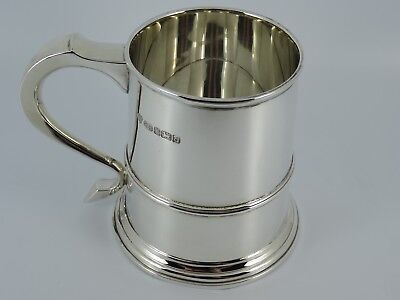 Heavy Solid Sterling Silver Plain One Pint Beer Tankard Sheffield 2003 479G
