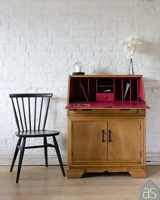 Restored & Re-Loved Oak Writing Bureau with a Farrow & Ball Rectory Red Interior