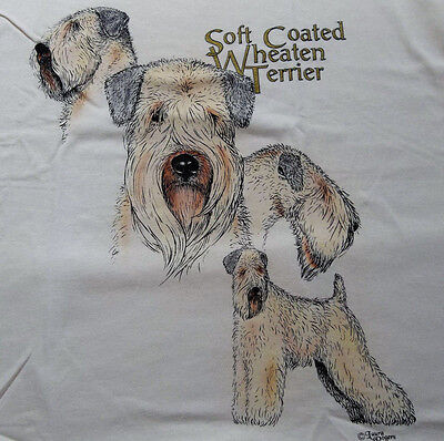 "Soft Coated Wheaten Terrier T-shirt  "" White ""  Small ( 34 ~ 36 )"