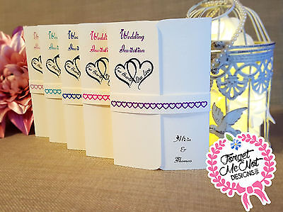Personalised Handmade Gatefold Wedding Invitations with belly band - Any Colour!