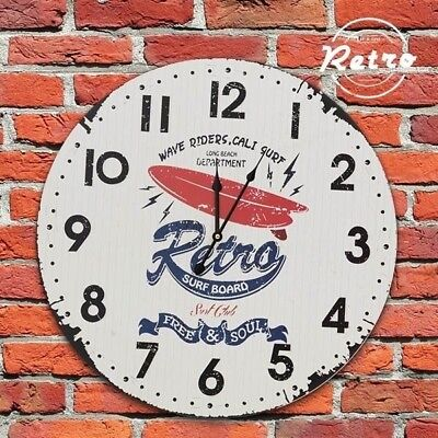 Shabby Chic Style Round Wooden Wall Clock 'RETRO SURF BOARD'Home Decor NEW Gift