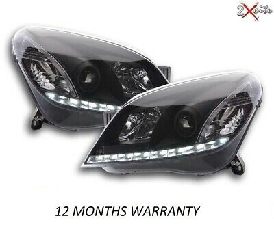 Vauxhall Astra H Mark 5 Mk5 Led Black Drl Style Projector Devil Eye Headlights