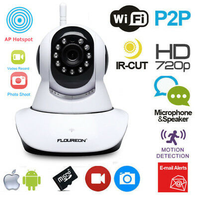 Wireless Wifi PT 720P CCTV IP Camera Security WLAN Network Webcam Night Vision