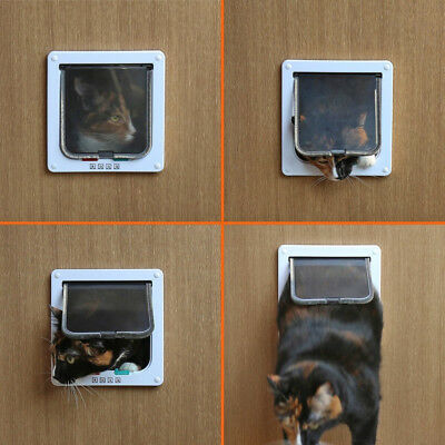 Safe 4-way Lockable Pet Cat / Small Dog Door Large Locking Flap New Frame Screen