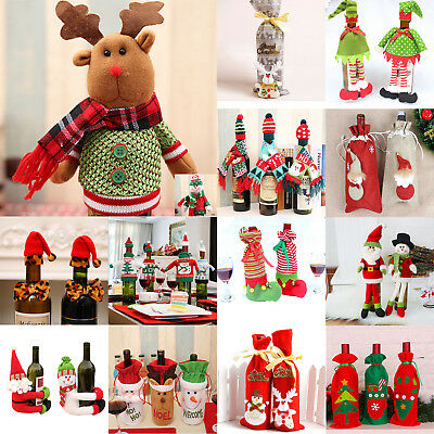 Christmas Wine Bottle Cover Clothes Candy Bag Xmas Santa Reindeer Home Decor