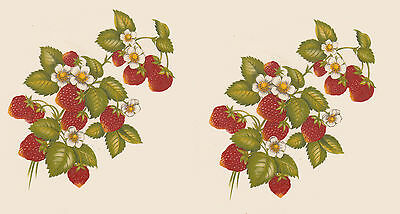 "2  x Waterslide ceramic decals Strawberries  Fruit Approx 3 1/2"" x 3 1/4"" PD640"