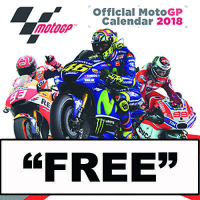 "Moto Gp Calendar 2018, Large A3 Size + ""free""  Stickers & Uk Tracked Delivery"