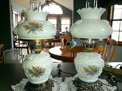 2x GWTW FENTON LAMPS Set Student Puffy Roses Milk Glass 3 Way Floral Pair