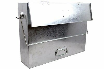 Hot Ash Carrier Box with Lid for Fireplace. Metal Bin / Bucket Container