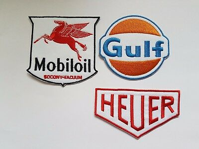 Vintage Style F1 Racing Sponsors Iron On Patch Sew On Fancy Dress Transfers
