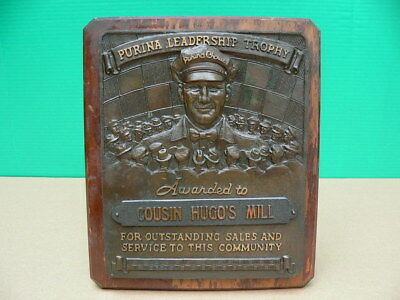 1940s Purina Chows PURINA LEADERSHIP TROPHY Sales Service Award Bronze Plaque