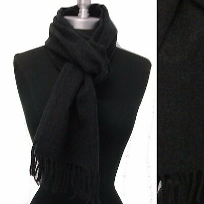 New 100% CASHMERE SCARF MADE IN SCOTLAND SOLID  Charcoal Gray SUPER SOFT UNISEX