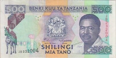 TANZANIA BANKNOTE  P. 26c 500 SHILLINGS SIG. 11  EXTREMELY FINE