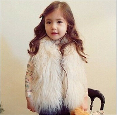 Toddler Baby Girls Kids Winter Faux Fur Waist Gilet Jacket Outwear Vest Coat New