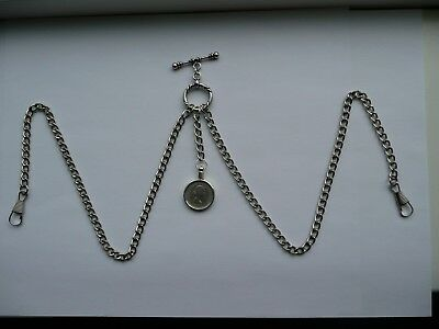 unusual double albert silver plated pocket watch chain lucky sixpence fob 6d fob