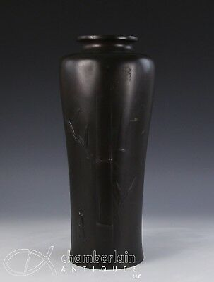 Large Antique Japanese Patinated Bronze Vase With Relief Design Of Bamboo