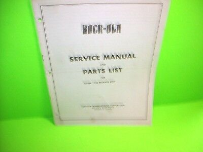 Rock Ola Model 1738 Original Jukebox Phonograph Receiver Service & Parts Manual