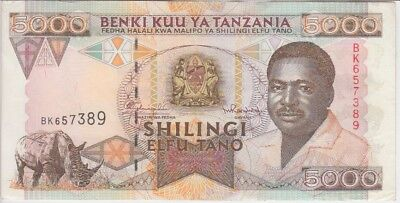 Tanzania Banknote  P# 28  5000 5.000 5,000 Shillings Very Fine-Extremely Fine