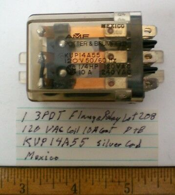 1 New Flange Relay 3PDT,120VAC Coil,10A Cont. Potter Brum.#KUP14A55, Lot 208
