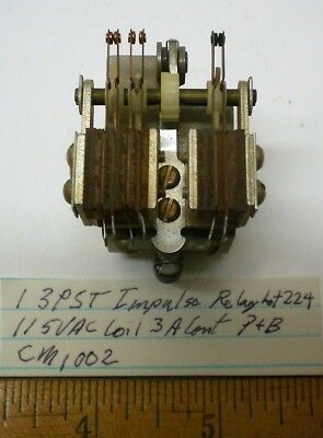 1 New Impulse Relay 3PST, 115VAC Coil, 3A Cont. Potter Brum #CM1002, Lot 224 USA