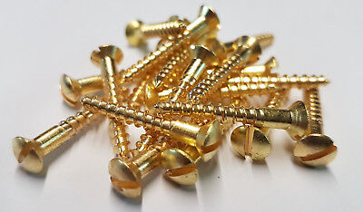 Solid Brass Countersunk Screw Slotted Raised Head Wood Screws - Various Sizes