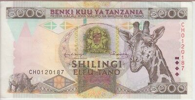 Tanzania Banknote P# 32  5000 5.000 5,000 Shillings  Extremely Fine Plus