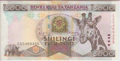 Tanzania Banknote P32  5000 5.000 5,000 Shillings 1997 Almost Uncirculated- Unc