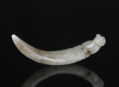 Antique Chinese 17/18C Carved Nephrite Jade Knot Opener W Creature