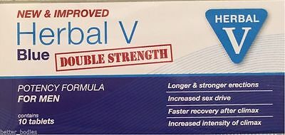 10 Herbal v Blue Sex Tabs Strong Supplement For Men